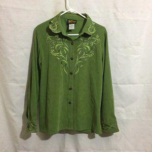 Bob Mackie Wearable Art Green Button Front Shirt M